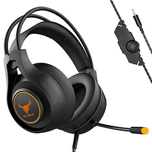 Kikc V3 Gaming Headset, Xbox One Headset, PS4 Headset, 3,5 mm Stereo-Kopfhörer mit Geräuschunterdrückung und Lautstärkeregler für Nintendo Switch/PC/Laptop, Schwarz und Orange