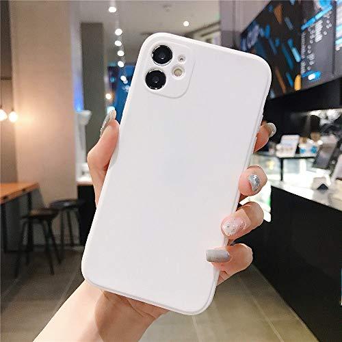 AAA&LIU Estuche Cuadrado de Color Caramelo para iPhone 7 8 6 6s Plus Funda de TPU Suave y Simple para iPhone 11 Pro MAX X XS XR XS MAX, Blanco, para 6 Plus 6s Plus