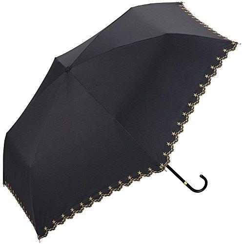 ワールドパーティー(Wpc.) 日傘 折りたたみ傘 ブラック 黒 50cm レディース 傘袋付き 遮光星柄スカラップ ミニ 801-972 BK