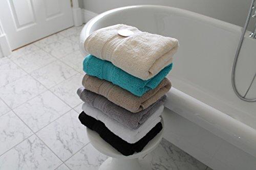 Cazsplash Serviettes de Main de Grande qualité en Coton Bio 50 x 90 cm 650 g/m² Blanc