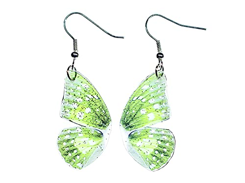 Miniblings alas pendientes de alas de mariposa del brillo de mariposa verde - joyería de plata...