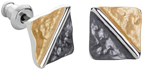Perlkönig | Damen Frauen | Ohrringe Set | Dreiecke im Viereck in Schwarz Silber Gold | Tricolor | Ohrstecker |Nickelfrei
