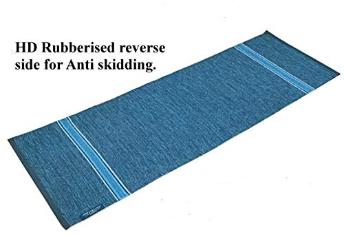 ASE YOGA INDIA Organic and Eco Friendly Cotton Yoga Mat (61X183 cm, 6 mm Thick, Navy Blue and Turquoise)