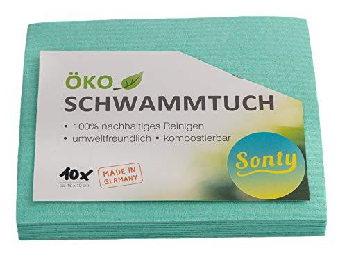 Sonty 10 Stück ÖKO Schwammtuch, umweltfreundlich, nachhaltig, biologisch abbaubar, 18 x 19cm (10)