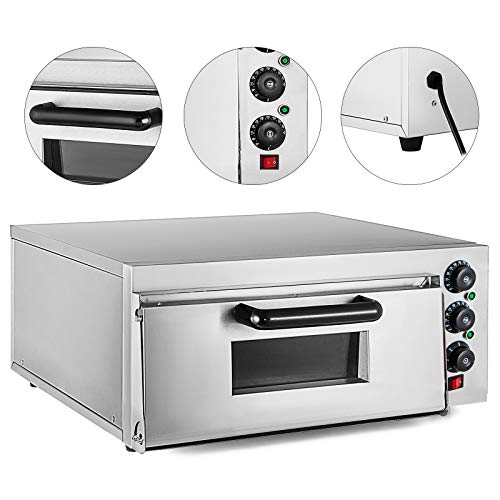 Hopopular 2KW Electric Pizza Oven 350?Pizza Oven with Dedicated Pizza Drawer Stainless Steel 22 x 20.6 x 11.5inch A Single Electric Cooker Baking Oven Restaurant(Single Desk)