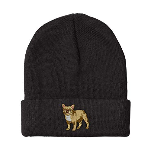 Custom Beanie for Men & Women French Bulldog Embroidery Acrylic Skull Cap Hat Black Design Only