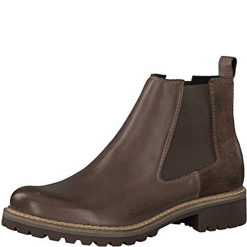 Tamaris Damen Chelsea Boots 25457-21,Frauen Stiefel,Halbstiefel,Stiefelette,Bootie,Schlupfstiefel,hoch,Blockabsatz 3cm,Taupe Comb,EU 41