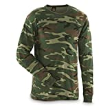 Surplus Military Style Camo Long Sleeve Shirt, Woodland Camo, Large