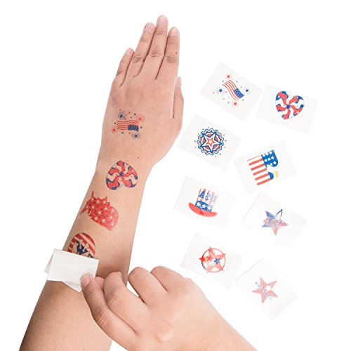 Super Z Outlet 1.5 Patriotic American Flag Colorful Theme Washable Temporary Tattoos for Children & Adults, Face Art, Mini Stick Peel On & Off (144 Pieces)