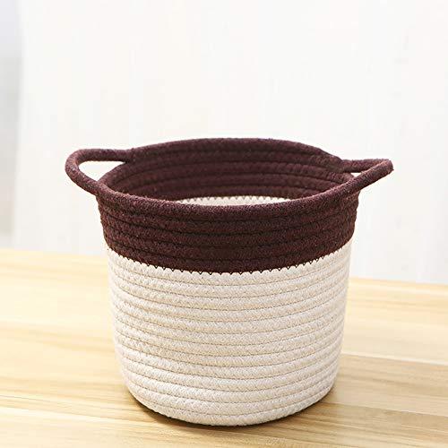 Zhuowei Aufbewahrungskörbe Tejido, Jute-Baumwoll-Aufbewahrungskorb, Bio-Baumwoll-Seil-Aufbewahrungskorb Für Haushaltswaren Kleidung Spielzeug,1