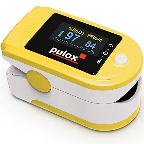 Pulsoximeter PULOX PO-200A Solo in gelb Oximeter mit Alarm, Pulston und drehbarem Display Fingeroximeter zur Messung der Sauerstoffsättigung im Blut und Puls