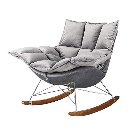 YaGFeng Rocking Chair Comfortable Soft Rocking Chair Home Lounge Chair Rocking Chair Cushion For Home Office Furniture Rocking Chairs For Adults (Color : Gray, Size : 92x85x58cm)