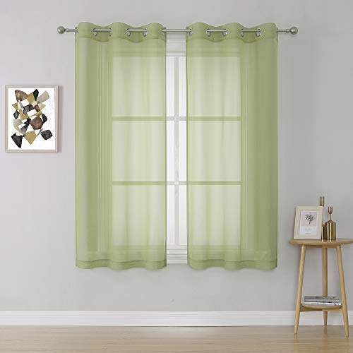 Sage Green Sheer Curtains Voile Sheer Window Curtain Panels Drapes 45 Inch Length with Grommet for Girls Kids Room (2 Panels,38 x 45 Inches Long)