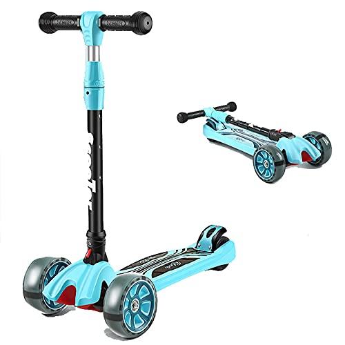 ZHZHUANG Scooter Infantil, Scooter Plegable con 3 Ruedas de Luz Led, Ajustes de Freno Trasero Ajustables de 4 Altura, Sistema de Plegado de Liberación Rápida