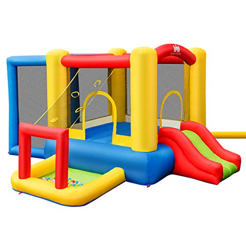 COSTWAY. Inflatable Bouncy Castle, Jump and Slide Bouncer PlayHouse with Basketball Rim, PVC Ball, Plastic Balls, Hand Pump & Carrying Bag (Bouncy Castle without Blower)