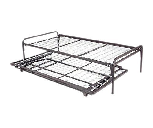 Dream Solutions Metal Day Bed (Daybed) Frame and Pop up Trundle with Great Soft Mattresses Included Package Deal, Twin