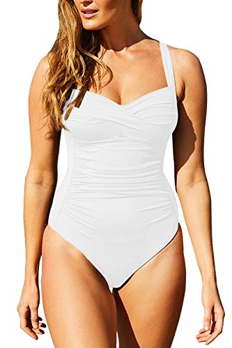 Sovoyontee Women's Ruched Twist-Front Sweetheart 1 Piece Swimsuit Bathing Suits, White, X-Large