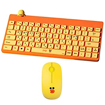 LINE Friends Sally Keyboard and Mouse Set Korean/English Keyboard & Brown Noiseless Wireless Mouse Gift for Laptop PC Girls Boys Christmas Birthday Gift