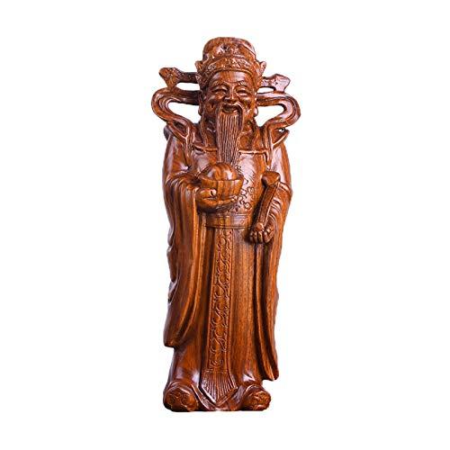 Escultura Feng Shui Caoba dios de la riqueza estatua-feng shui decoración dios de la fortuna buddha estatua artesanía esculpida único y hermoso regalo de año nuevo chino Afortunado Riqueza