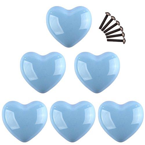 GODNECE Set di 6 Pomelli Mobili Blu Pomello Ceramica Cuore