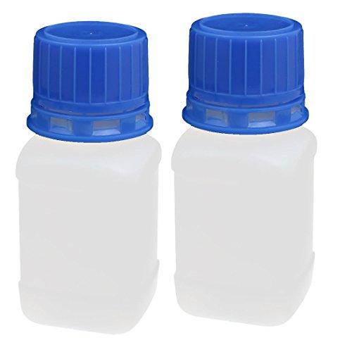 sourcing map 2 Stk. Reagenzflasche 60ml Kunststoff Schraube Schmaler Mund Probenflasche Weiß