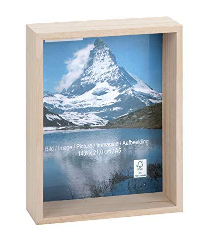 Glorex 6 1683 451 Fotolijst van hout, biedt veel ruimte voor decoratie, ca. 22,4 x 16,4 x 6,2 cm.