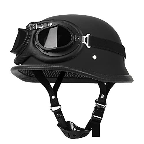 Vuxen motorcykelhjälm scooter hjälm DOT/ECE godkänd, snygg halvöppen hjälm med glasögon, har passerat vägsäkerhetstester och skyddar effektivt huvudsäkerhet E, S
