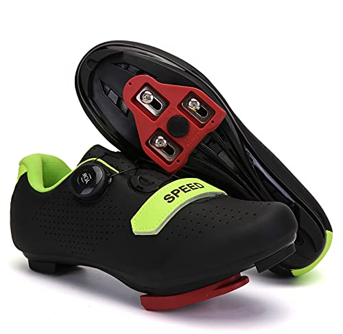 Mens Womens Road Bike Cycling Shoes, Riding Shoes Compatible Peloton Bike Shoes with Look ARC Delta Cleats Perfect for Indoor Outdoor (Black, M10.5)