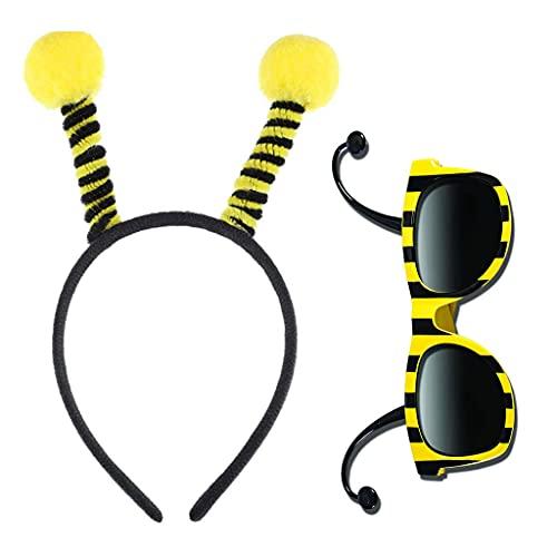 YOURPAI Disfraz de abeja, juego de gafas de aro de cabeza de abeja Bopper antenas y gafas de rayas de abeja para niños disfraz de Halloween negro y amarillo