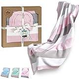 sei Design Baby Decke aus 100% Baumwolle 90 x 70 | kuschelige Strickdecke + Mütze | Ideal als Erstlingsdecke, Kuscheldecke, Puckdecke für Mädchen in hübscher Geschenk-Verpackung
