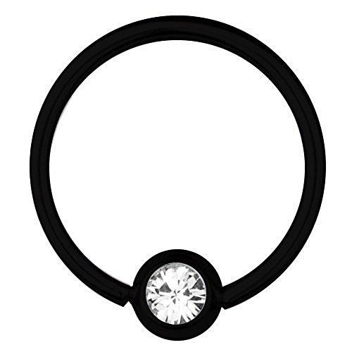 BCR Piercing in titanio nero da 0,8 mm, elementi SWAROVSKI, 12 mm, colore: bianco e Titanio, colore: nero/bianco, cod. 3853