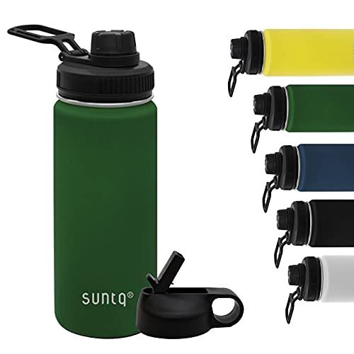 SUNTQ Trinkflasche aus Edelstahl Wasserflasche mit Trinkhalm 2 Deckel 532ml (18oz) Premiume Thermosflasche für das Laufen, Fitness und Camping Perfekter Begleiter für Schule, Uni und Büro-Grün