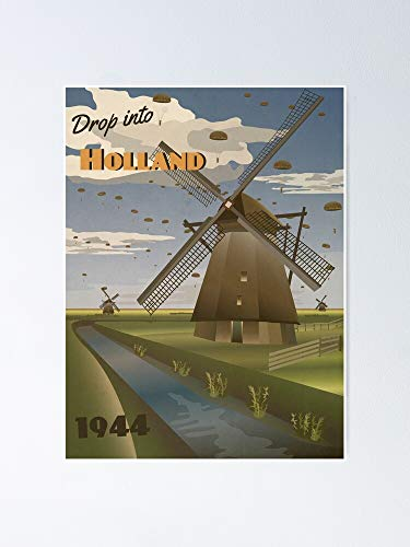 AZSTEEL Holland 1944 Operation Market Garden Travel Poster No Frame Board for Office Decor, Best Gift Family and Your Friends 11.7 * 16.5 Inch
