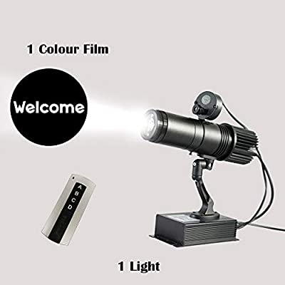 LED Logo GOBO Remote Control LED GOBO Projector Advertising Logo Light with Custom 1 Color Rotating Glass Gobos Indoor Black