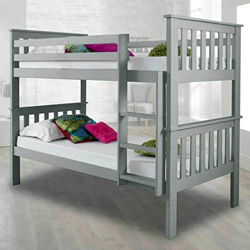 Bunk Beds For Kids Bunk Bed 3 Feet Double Bed Solid Grey Wooden Bunk Bed Frame Bedroom Home Sleep For Kids/Adult Children Bed Frame With Stairs (3 ft Grey Double Bed)