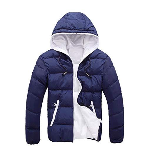 VEMOW Herren Slim Lässige warme Jacke Herbst Winter mit Kapuze dicken Mantel Parka Casual Sport Wandern Mantel Hoodie(Marine, 54 DE / 3XL CN)