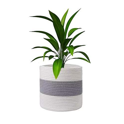 HKU Cotton Rope Plant Basket, Storage Basket Organizer for Laundry Toy Storage Blanket Storage, Cotton Rope Plant Basket for Flower Pot Floor Indoor Planters(White & Light Grey) (Size : 20 * 20cm)