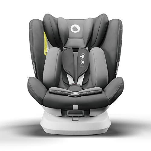 Lionelo Bastiaan One silla de coche bebe desde el nacimiento hasta los 36 kg giratoria a 360 grados Isofix Top Tether cinturón de seguridad de 5-puntos (Gris)