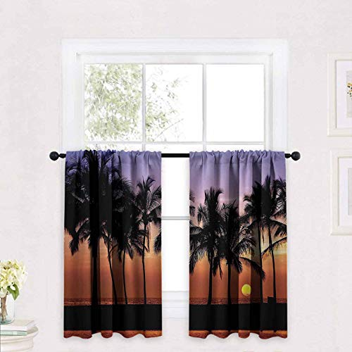 Hawaiian Decorations Short Panels for Kitchen Bathroom Hawaiian Sunset On Big Island Anaehoomalu Bay Tropic Horizon Ocean Romantic Resort Half Window Covering Tier Curtains 30 x 45 inch