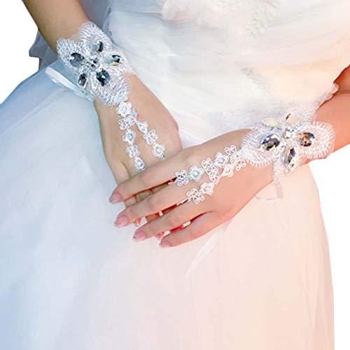 Gants de mariée mariage robes de soirée dentelle gants courts B01