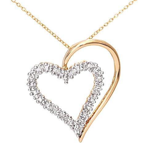 Naava Damen-Kette mit Anhänger 375 Weißgold 9 K Rhodiniert Diamant Rundschliff 0,06 ct PP03175Y
