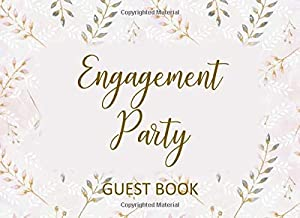 Engagement Party Guest Book: Welcome Log Book with Marriage Advice & Well Wishes for Couple - Pink & Gold Fern