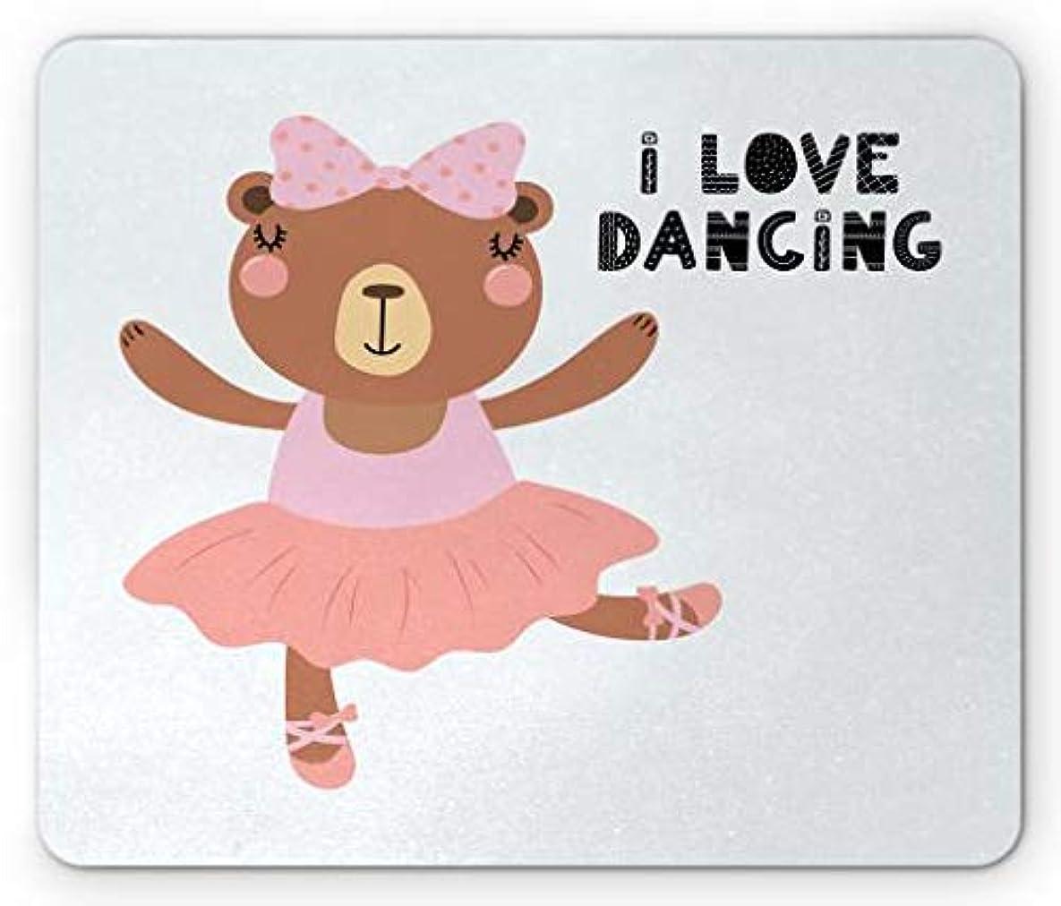 マーケティング冷蔵するファイターダンスマウスパッド、レタリング引用付きチュチュポアントシューズのファニーベアバレリーナ、ダンスが大好き、標準サイズの長方形滑り止めラバーマウスパッド、多色