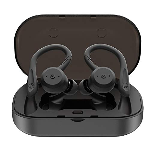 AJAHBGSMXD 5.0 Bluetooth Headset TWS Genuine Wireless Earbuds IPX7 Waterproof Replaceable Ear-Mounted Noise Cancelling Headphones for Fitness Mountain Climbing Swimming Hiking