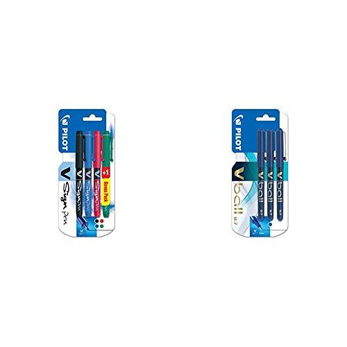 Pilot V-sign - Juego de bolígrafos (4 unidades), color negro, azul, rojo y verde + VB7 - Bolígrafo roller (3 unidades), color azul