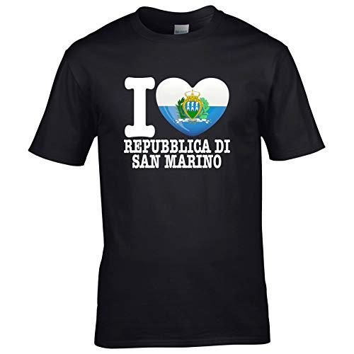 FanShirts4u Kinder T-Shirt - I Love SAN Marino - EM WM Trikot Liebe Herz Heart (5/6 Jahre 110-116 cm, I Love Republica DI SAN Marino - Schwarz)