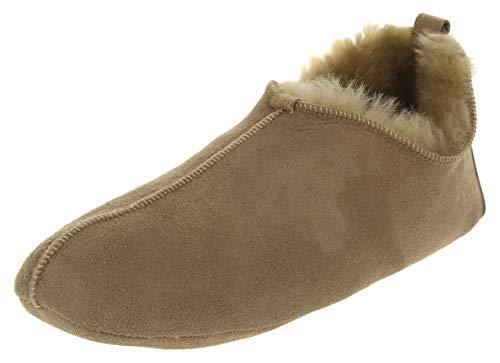 Vogar Herren Echtleder Lammfell Hausschuhe Schlappen VG-27 Pantoffeln Komplett mit Schafwolle Gefüttert, Beige-Beige, 42 EU