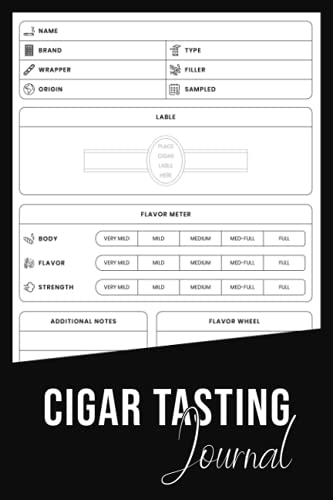 Cigar Tasting Journal: Cigar Tasting Log Book Notebook To Keep Track Of Cigar Tastings | Record Keeping Journal for Cigar Smoking | Keep Cigar Bands ... Women Men | Gifts for Smokers Cigarettes'