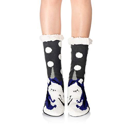 WOTENCE - Calcetines antideslizantes forrados de borreguillo para mujer, calcetines de invierno para andar por casa, suaves, mullidos, regalo de Navidad Unicornio gris Talla única