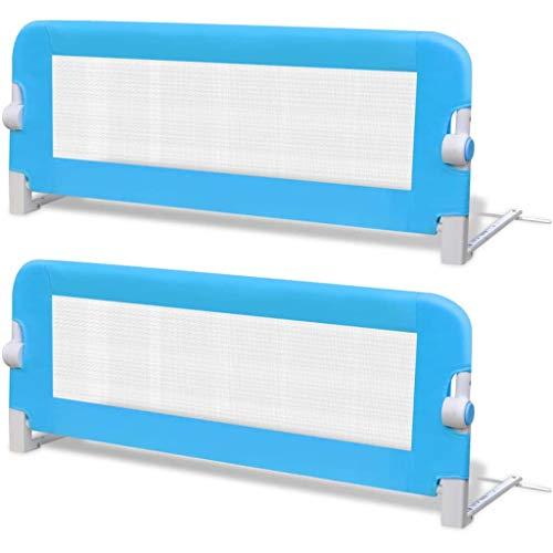vidaXL 2x Barrière de Lit de Sécurité Tout-petits Bleu Système de Protection